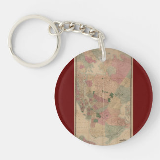 Vintage 1872 Brooklyn Map - New York City, Queens Double-Sided Round Acrylic Keychain