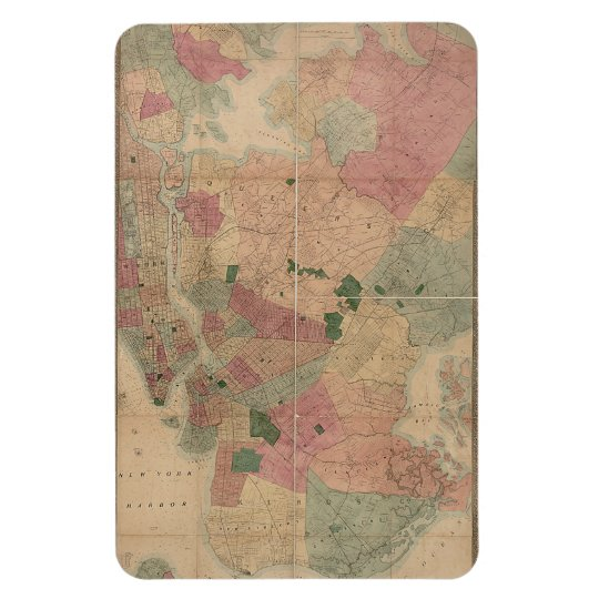 Vintage 1872 Brooklyn Map - New York City, Queens Magnet