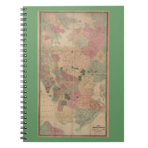 Vintage 1872 Brooklyn Map - New York City, Queens Notebook