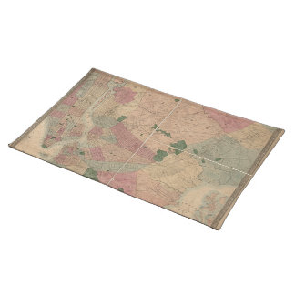 Vintage 1872 Brooklyn Map - New York City, Queens Place Mats