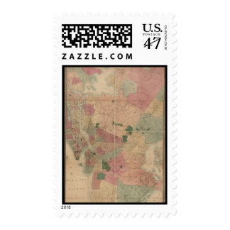 Vintage 1872 Brooklyn Map - New York City, Queens Postage