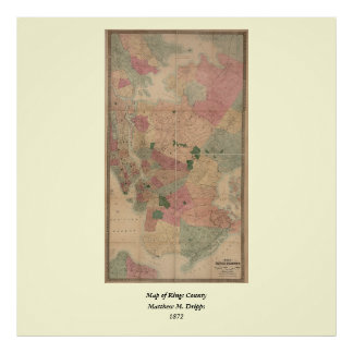 Vintage 1872 Brooklyn Map - New York City, Queens Poster