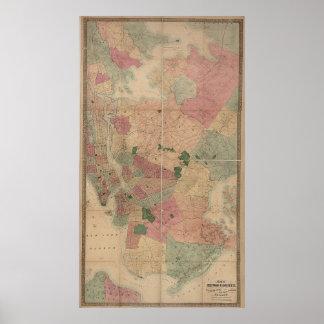 Vintage 1872 Brooklyn Map - New York City, Queens Print