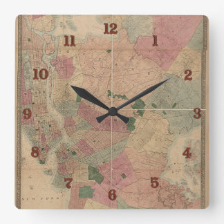 Vintage 1872 Brooklyn Map - New York City, Queens Square Wall Clocks