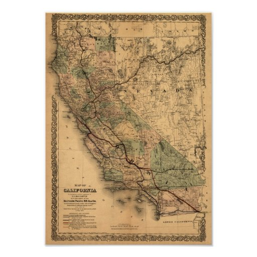 Vintage 1876 California Map Posters
