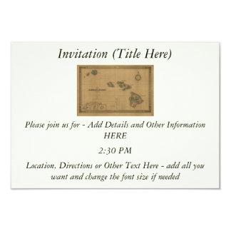 Vintage 1876 Hawaii Map -  Hawaiian Islands 3.5x5 Paper Invitation Card