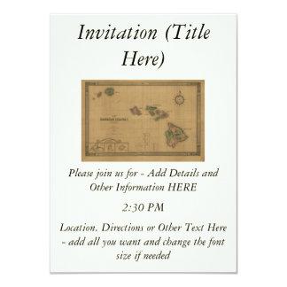 Vintage 1876 Hawaii Map -  Hawaiian Islands 4.5x6.25 Paper Invitation Card