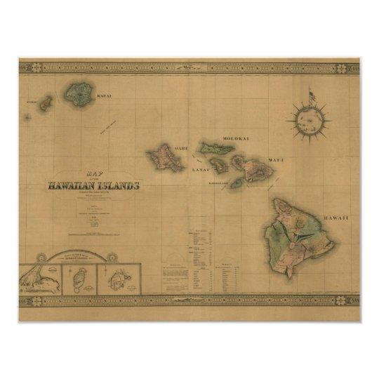 Vintage 1876 Hawaii Map -  Hawaiian Islands Card