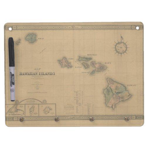 Vintage 1876 Hawaii Map -  Hawaiian Islands Dry-Erase Whiteboard
