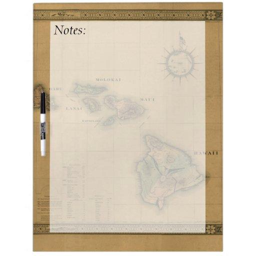 Vintage 1876 Hawaii Map -  Hawaiian Islands Dry Erase Board