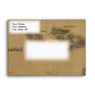 Vintage 1876 Hawaii Map -  Hawaiian Islands Envelope