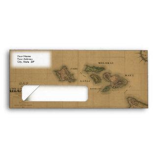 Vintage 1876 Hawaii Map -  Hawaiian Islands Envelopes
