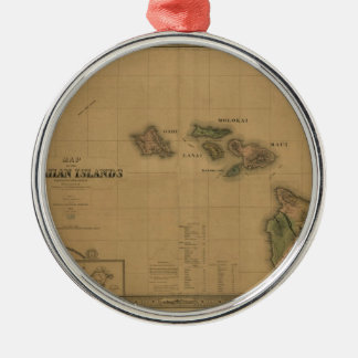 Vintage 1876 Hawaii Map -  Hawaiian Islands Metal Ornament