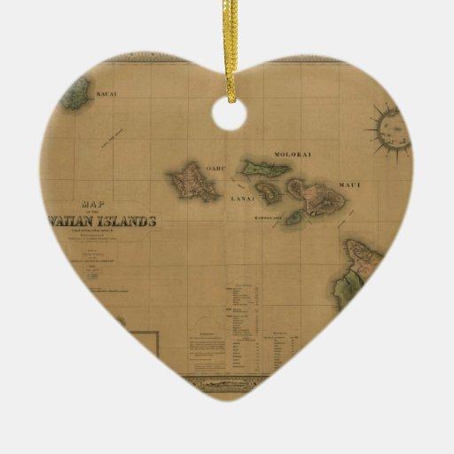 Vintage 1876 Hawaii Map -  Hawaiian Islands Ornament