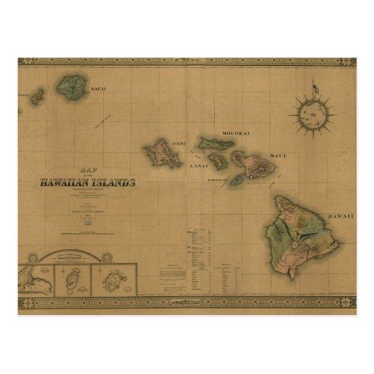 Vintage 1876 Hawaii Map -  Hawaiian Islands Postcard