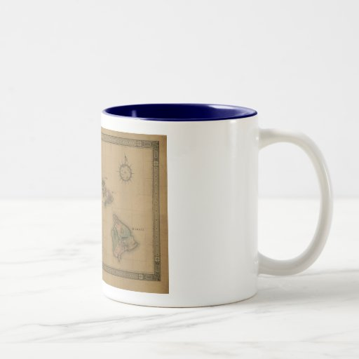 Vintage 1876 Hawaii Map -  Hawaiian Islands Two-Tone Coffee Mug