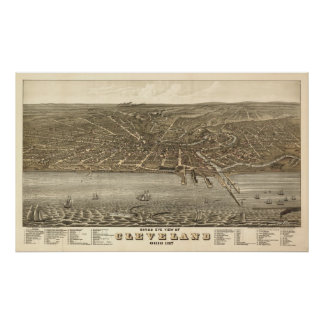 Vintage 1877 Cleveland Ohio View Poster