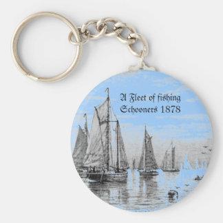 """""""Vintage-1878 Fishing Schooner Fleet,"""" Basic Round Button Keychain"""