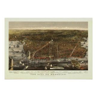 Vintage 1879 Brooklyn NY Bird's Eye View Map Poster