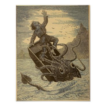Art Themed Vintage 1879 Giant Squid Poster