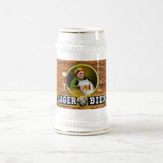 Vintage 1879 Lager Bier on Oak Wood Beer Stein