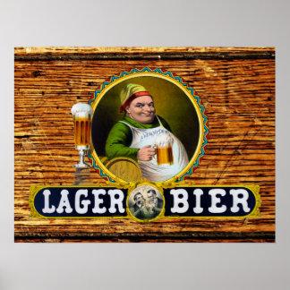 Vintage 1879 Lager Bier on Oak Wood Poster