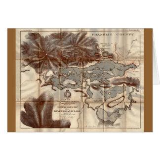 Vintage 1879 Lower Saranac Lake Reconnaissance Map Card