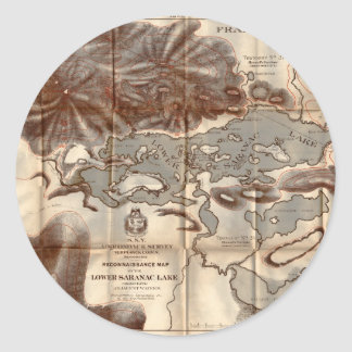 Vintage 1879 Lower Saranac Lake Reconnaissance Map Classic Round Sticker