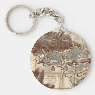 Vintage 1879 Lower Saranac Lake Reconnaissance Map Keychain