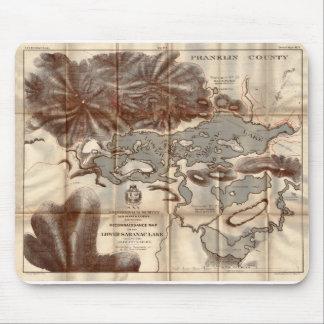 Vintage 1879 Lower Saranac Lake Reconnaissance Map Mouse Pad