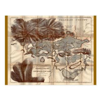 Vintage 1879 Lower Saranac Lake Reconnaissance Map Postcard