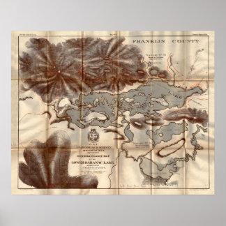 Vintage 1879 Lower Saranac Lake Reconnaissance Map Poster