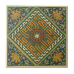 """Vintage 1884 Ornamental Green Ceramic Art Tile<br><div class=""""desc"""">Vintage 1884 ornamental tile ceramic art. The image shows some wear from the original vintage illustration. Expand,  rotate and customize for your design needs. Please contact us with any questions. View more vintage tile designs in our store.</div>"""