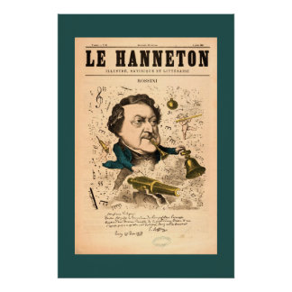 Vintage 1887 Cartoon of Composer Gioachino Rossini Poster