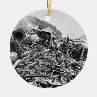 Vintage 1889 de la ruina del tren de la inundación ornamentos de reyes