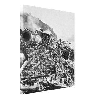Vintage 1889 de la ruina del tren de la inundación impresión en lienzo estirada
