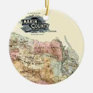 Vintage 1890 Map of Marin County Ceramic Ornament