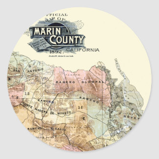 Vintage 1890 Map of Marin County Classic Round Sticker