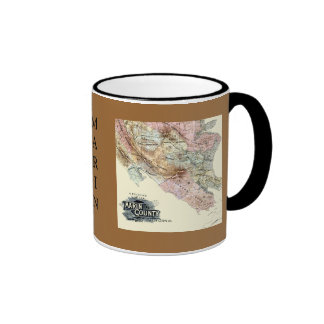 Vintage 1890 Map of Marin County Coffee Mugs