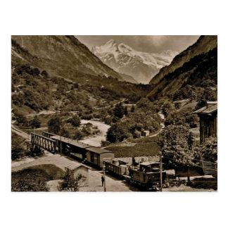 Vintage, 1890, Railway train at Grindelwald Postcard