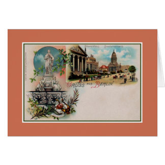 Vintage 1890s litho Greetings from Berlin Germany Card