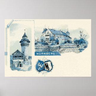 Vintage 1890s litho Nuernberg Nuremberg Poster