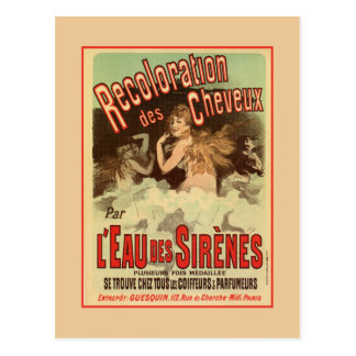 Vintage 1890s Mermaid French Hair Coloring ad Postcard