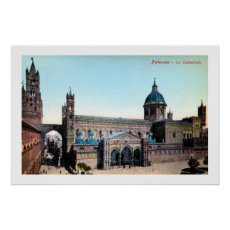 Vintage 1890s Palermo Sicily Cathedral Poster