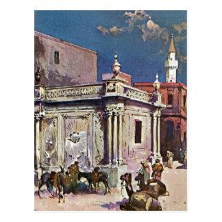 Vintage 1890s Tripoli Libya Watercolor painting Postcard