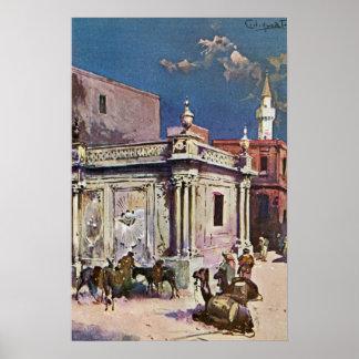 Vintage 1890s Tripoli Libya Watercolor painting Poster