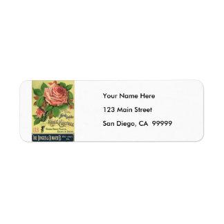 Vintage 1891 Guide to Rose Culture Return Address Label