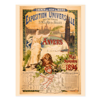 Vintage 1894 Antwerp World Exposition Postcard