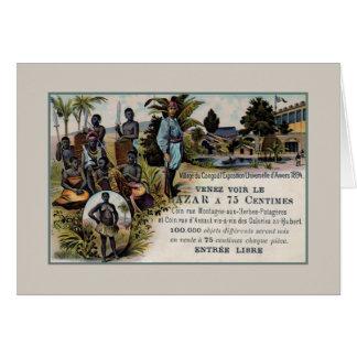 Vintage 1894 litho Congo World Expo 1894 Antwerp Card