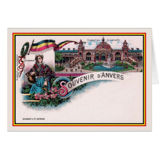 Vintage 1894 litho World Expo 1894 Antwerp Card